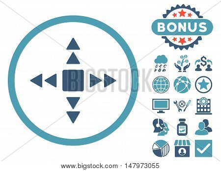 Direction Triangles icon with bonus images. Vector illustration style is flat iconic bicolor symbols, cyan and blue colors, white background.