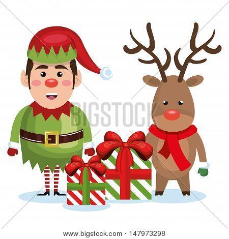 elf reindeer with gift box christmas vector illustration eps 10