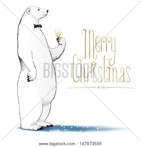 Merry Christmas vector drawing greeting card. Polar bear with bowtie character drinking glass of champagne funny nonstandard illustration. Design element with Merry Christmas hand drawn lettering