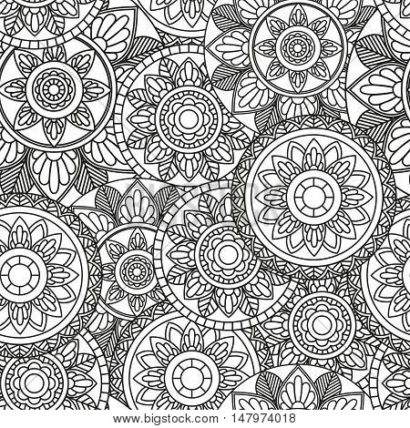 Seamless Pattern with Mandala / Vector Seamless Background with Indian motifs