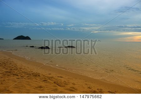 Sunrise and beach. Morning at sea beautiful Sky colorful and water sea at reflex. ( Cold Warm Filter) : copy space for add text above and may be used as background :