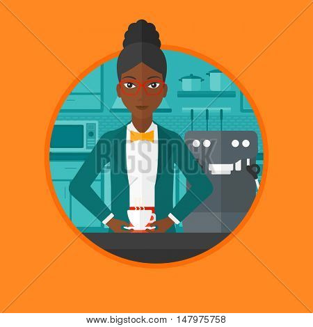 An african-american woman making coffee with a coffee-machine. Young woman standing in the kitchen beside a coffee machine. Vector flat design illustration in the circle isolated on background.