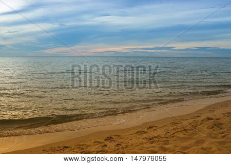 Sunrise and beach. Morning at sea beautiful Sky colorful and water  (Cold Warm Filter) : copy space for add text above