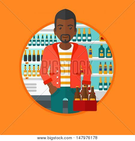 An african-american man standing in alcohol store. Man holding pack of beer at supermarket. Man standing at alcohol section. Vector flat design illustration in the circle isolated on background.