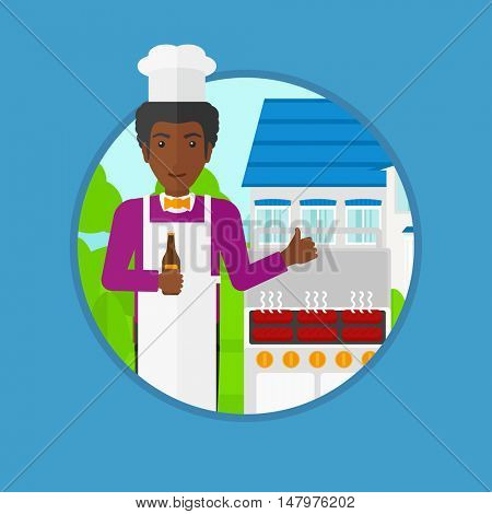 An african-american man with bottle in hand cooking meat on gas barbecue grill and giving thumb up. Man cooking in the backyard. Vector flat design illustration in the circle isolated on background.
