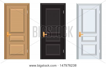 Vector colorful Closed Door with Frame Isolated on Background. Realistic and Flat color style design. White black and brown color doors