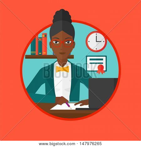 African-american student sitting at the desk with laptop. Student using laptop at home and writing notes. Woman working on laptop. Vector flat design illustration in the circle isolated on background.