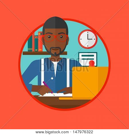An african-american student sitting at the desk with laptop. Student using laptop at home and writing notes. Man working on laptop. Vector flat design illustration in the circle isolated on background