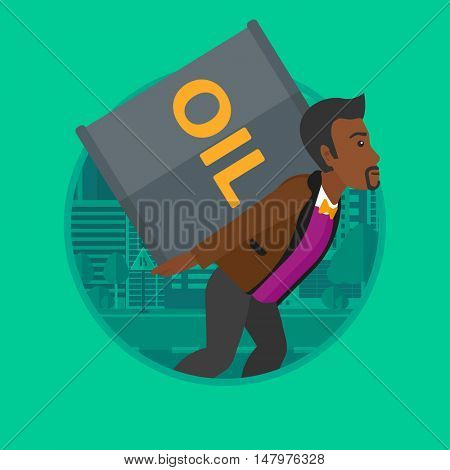 An african-american man carrying an oil barrel on his back. Young man with oil barrel walking on a city background. Vector flat design illustration in the circle isolated on background.