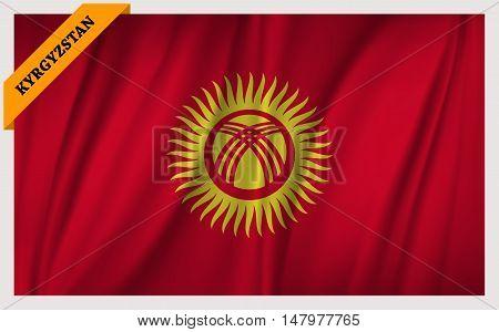 National flag of Kyrgyzstan - waving edition