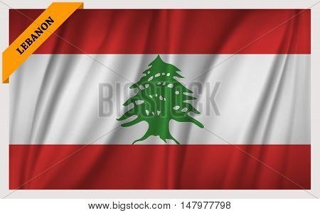 National flag of Lebanon - waving edition