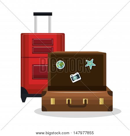 suitcase old and suitcase red with wheels design isolated vector illustration eps 10