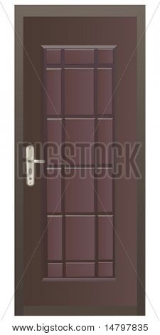 illustration with brown door isolated on white background