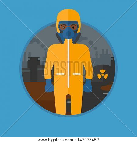 An african-american man in gas mask and radiation protective suit standing on a background of nuclear power plant. Vector flat design illustration in the circle isolated on background.