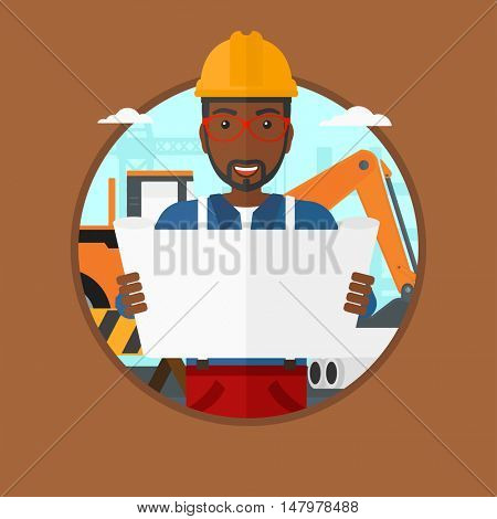 An african-american engineer watching a blueprint at construction site. Man with engineer blueprint. Engineer holding a blueprint. Vector flat design illustration in the circle isolated on background.