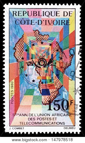 IVORY COAST - CIRCA 1980 : Cancelled postage stamp printed by Ivory Coast, that shows Map of Africa.