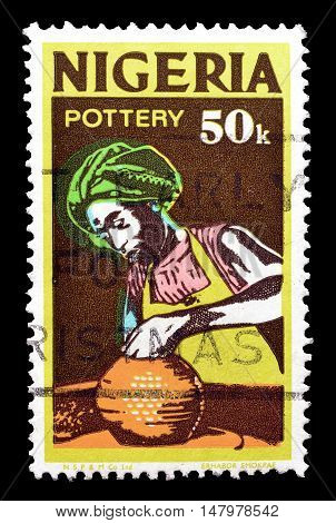 NIGERIA - CIRCA 1973 : Cancelled postage stamp printed by Nigeria, that shows Pottery.
