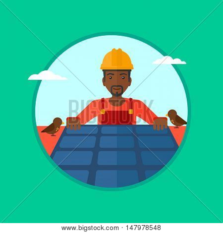 An african-american man installing solar panels on roof. Technician in inuform and hard hat checking solar panels on roof. Vector flat design illustration in the circle isolated on background.
