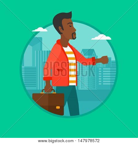 An african-american successful businessman walking with a briefcase in city street. Businessman walking down the street. Vector flat design illustration in the circle isolated on background.