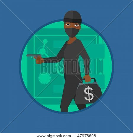 An african burglar in mask standing near safe door. Burglar holding hand gun and a bag with dollar sign. Thief stealing money. Vector flat design illustration in the circle isolated on background.