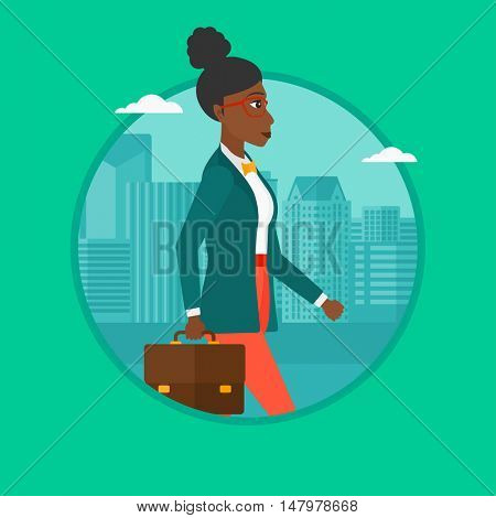 An african-american successful business woman walking with a briefcase in city street. Business woman walking down the street. Vector flat design illustration in the circle isolated on background.