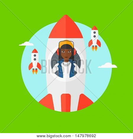 An african business woman in headphones flying in the rocket. Successful business start up concept. Business rocket taking off. Vector flat design illustration in the circle isolated on background.