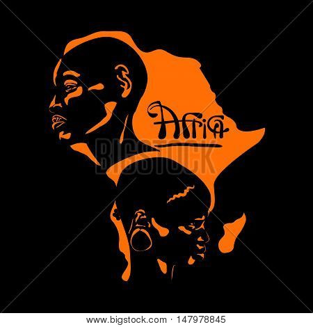 stylized portrait of an Africans male and woman in a profile against the backdrop of an orange cards Africa on a black background
