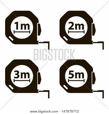 Measuring tape. Measurement methods. Set of black icons on white background