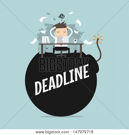 Businessman in hard work and sitting on deadline bomb. A lot of work. Stress at work. vector