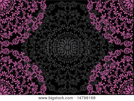illustration with pink quadrants on black pattern