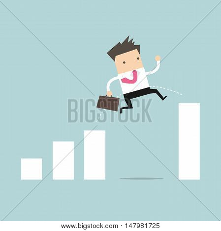 Businessman jump through the gap in growth chart vector