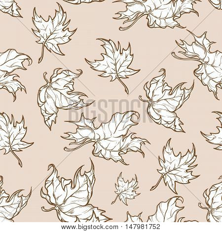 Autumn red maple leaves. Detailed intricate hand drawing. Isolated on white background. Chaotic distribution of elements. Seamless pattern. EPS10 vector illustration.