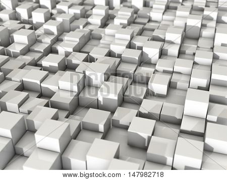 3d rendering render white cubic reflection shiny glossy random level surface background