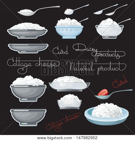 Vector illustration with cottage cheese, strawberry, spoons, plate and glass bowl, on black background.