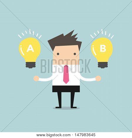 Businessman compares idea A to idea B. vector