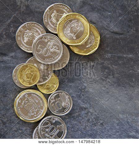 Singaporean coins on a dark slate background.