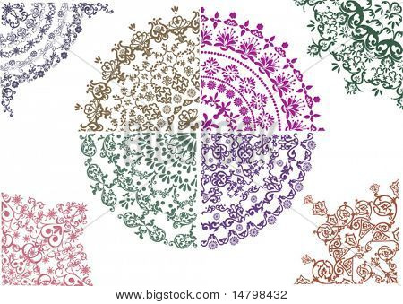 different color floral quadrants isolated on white background