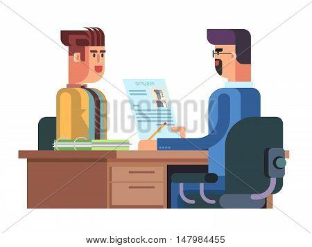 Job interview, characters design. Flat vector illustration