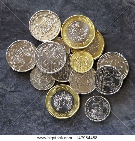 Some Singaporean gold and silver coins on a slate background.