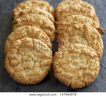 Anzac biscuits which are eaten by Australians and New Zealanders on Anzac Day (26 April).