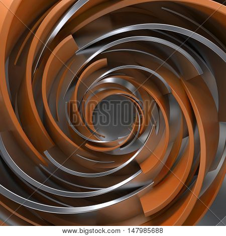 Twisted Concentric Shapes. Rotated Elements With Random Sizes With Reflective Surface.