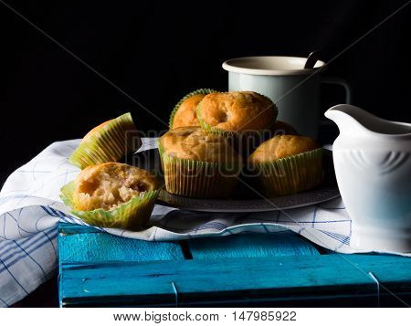 Spelt Wheat Muffins With Fruit On Black