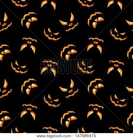 Vector Halloween seamless pattern. Devilish smile of pumpkin burning in the dark. Design elements for halloween party poster. Flat cartoon illustration. Objects isolated on black background.