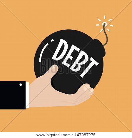 Debt concept. Businessman hand holding bomb with burning fuse and debt text on it. vector