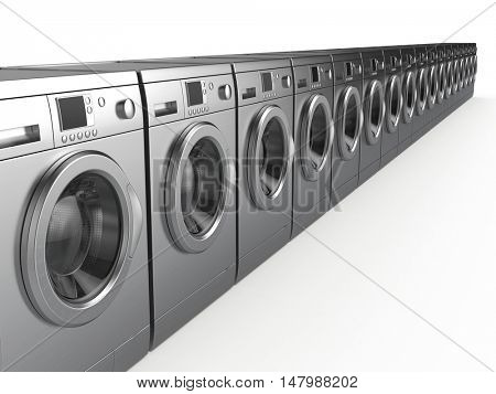 Washing machines isolated on white - 3d render