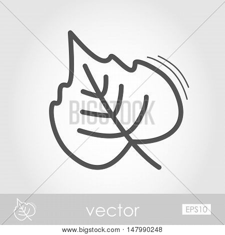 Autumn Leaves poplar outline icon. Harvest. Thanksgiving vector eps 10