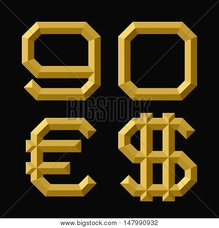 Gold faceted nine zero numbers euro and dollar sign. Trendy and stylish golden font.