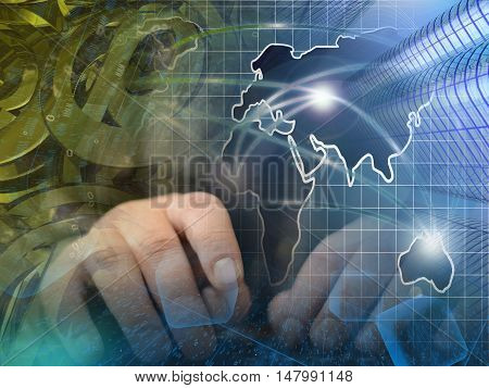 Computer background with hands mail signs and map.