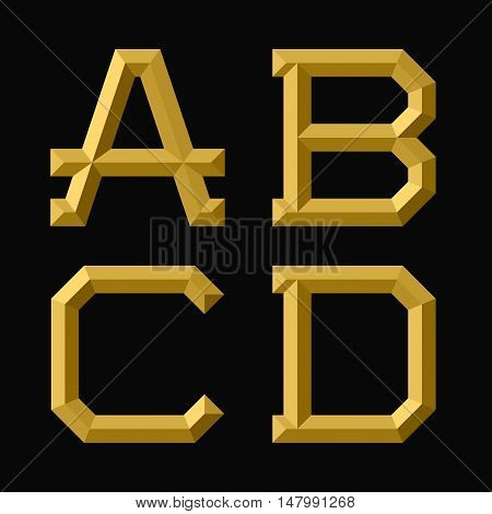 A B C D gold faceted letters. Trendy and stylish golden font.