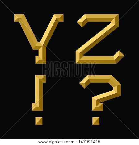 Y Z gold faceted letters exclamation and question marks. Trendy and stylish golden font.